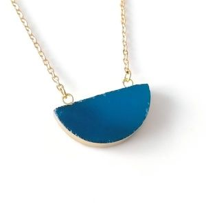 Gold-plated agate stone half moon necklace